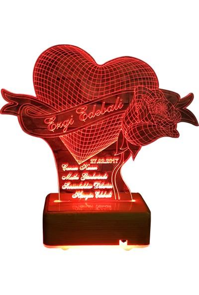 Vipyol İsimli Gece Lambası Kalpli Güllü İsimli Lamba Sevgili Hediyesi