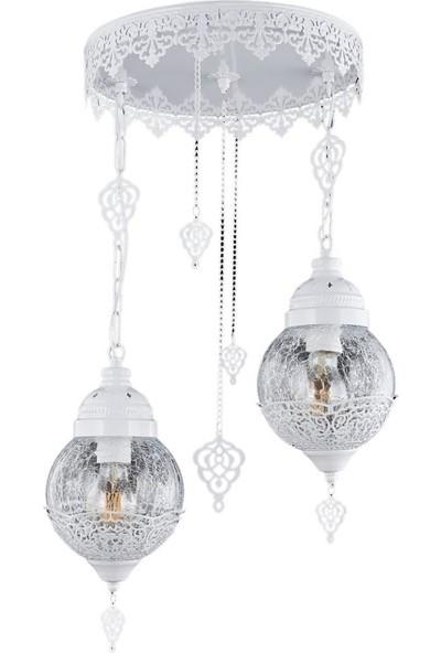Jaka Light 00090 - 2'Li Beyaz Sarkıt Salon Avizesi