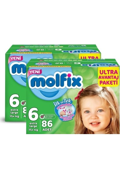Molfix Bebek Bezi Comfort Fix Ultra Avantaj Paketi Extra Large 6 Beden 172 Adet