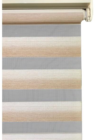 Evrem SD00429 0102 Kahverengi Zebra Perde Etek Dilimli + Boncuklu 40x200
