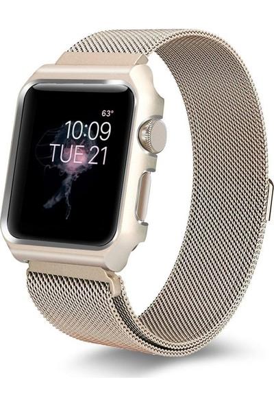 Teleplus Apple Watch Seri 3 42 mm Metal Mıknatıslı Hasır Kordon Gold + Tam Kapatan Kavisli Cam
