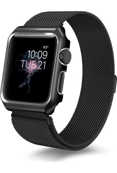 Teleplus Apple Watch Seri 3 42 mm Metal Mıknatıslı Hasır Kordon Siyah + Tam Kapatan Kavisli Cam