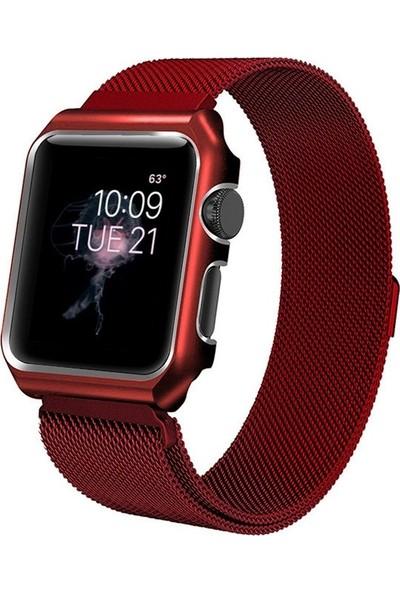Teleplus Apple Watch Seri 3 42 mm Metal Mıknatıslı Hasır Kordon Kırmızı + Tam Kapatan Kavisli Cam