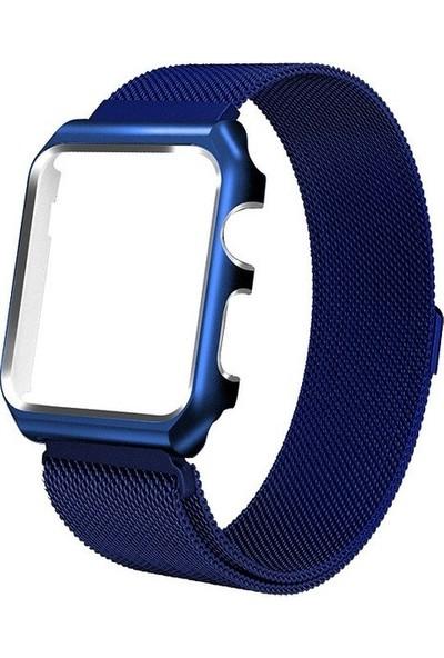Teleplus Apple Watch Seri 3 42 mm Metal Mıknatıslı Hasır Kordon Lacivert + Tam Kapatan Kavisli Cam