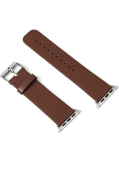 Teleplus Apple Watch Seri 3 42 mm Deri Kordon Kahverengi + Tam Kapatan Kavisli Cam