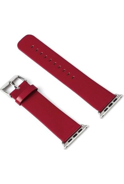 Teleplus Apple Watch Seri 3 42 mm Deri Kordon Kırmızı + Tam Kapatan Kavisli Cam