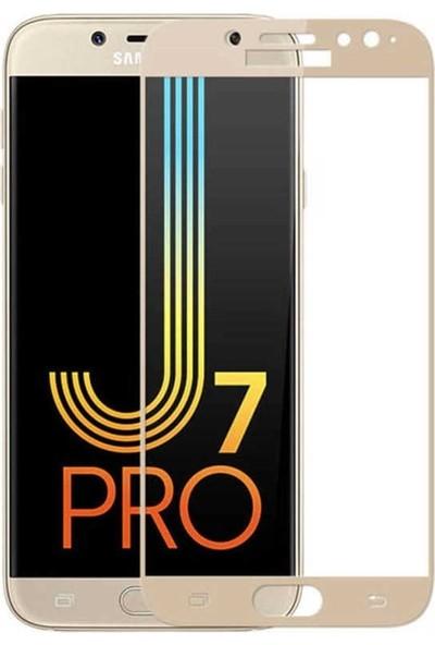 Teleplus Samsung Galaxy J7 Pro 5D Tam Kapatan Ekran Koruyucu Cam Gold