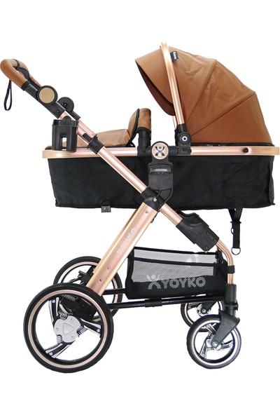 Yoyko Deluxe Travel Sistem Bebek Arabası 3 in 1 Kahverengi Rose Deri
