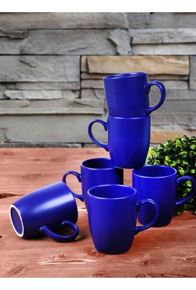 Keramika Mat Kobalt Bulut Kupa 9 Cm 6 Adet