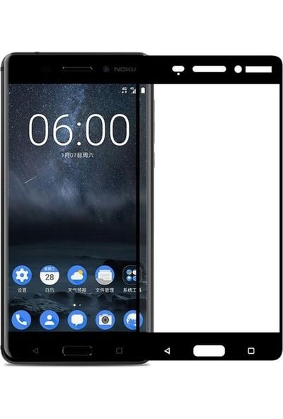 CoverZone Nokia 6 3D Tam Kaplayan Cam Siyah