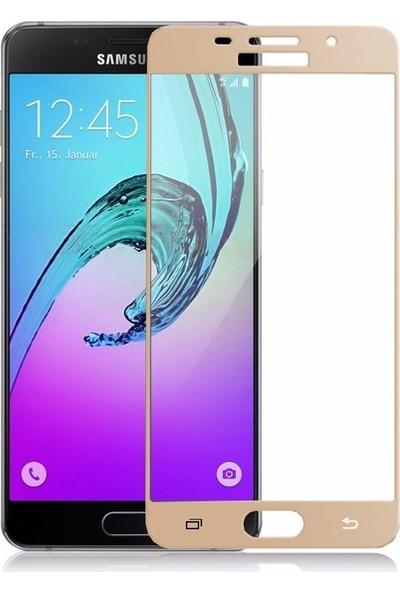 CoverZone Samsung Galaxy A5 2016 A510 3D Tam Kaplayan Cam Gold