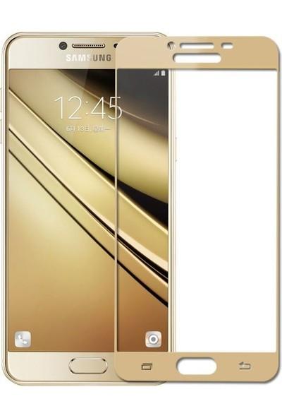 CoverZone Samsung Galaxy C5 Pro 3D Tam Kaplayan Cam Gold