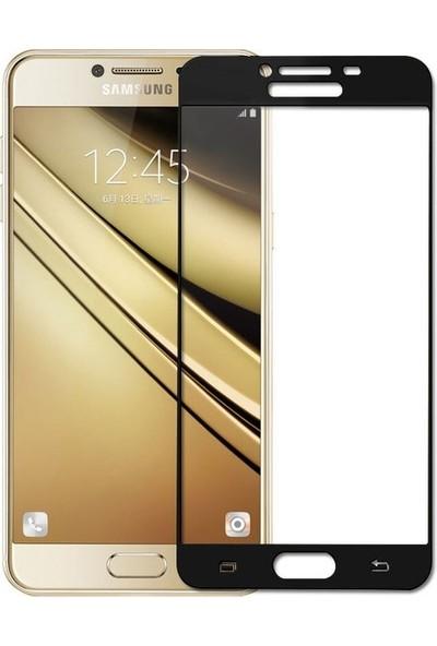 CoverZone Samsung Galaxy C7 3D Tam Kaplayan Cam Siyah