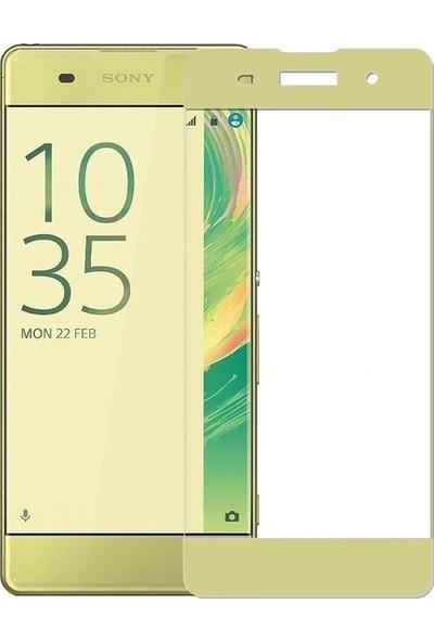 CoverZone Sony Xperia XZ Premium 3D Tam Kaplayan Cam Altın