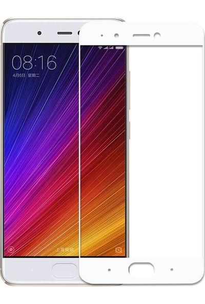 CoverZone Xiaomi Mi 5S Plus 3D Tam Kaplayan Cam Beyaz