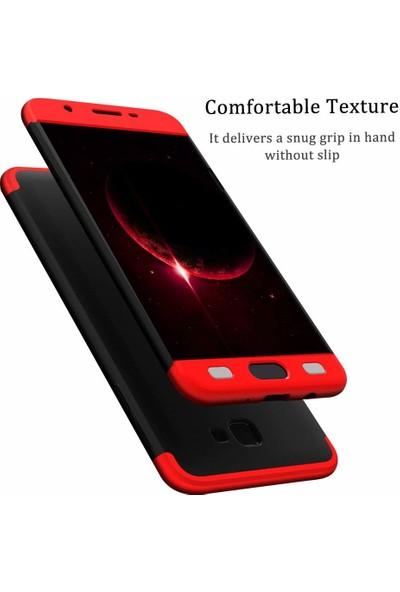 Case 4U Samsung Galaxy J7 Prime - J7 Prime 2 Kılıf 360 Derece Korumalı Tam Kapatan Koruyucu Sert Silikon Ays Kılıf - Siyah - Kırmızı