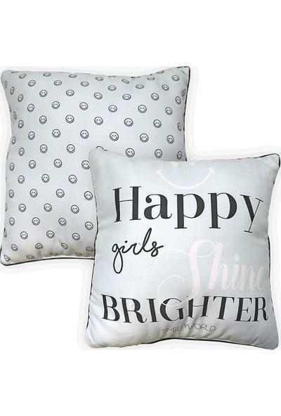 Smiley World Happy Girls Shine Baskılı Yastık
