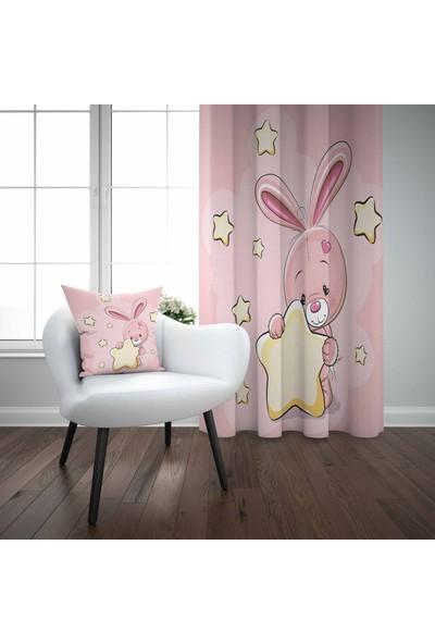 Else Pembe Tavşan Yıldız Çocuk Odası Modern 3D Desenli Fon Perde