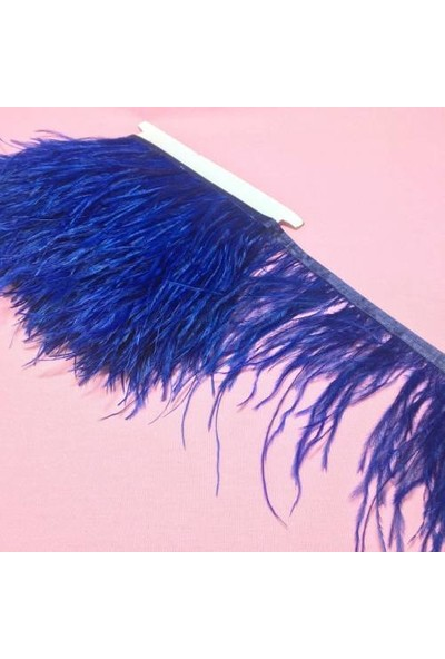 Brode Deve Kuşu Tüyü Sax Mavi 12 cm 1 Metre