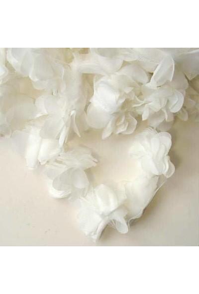 Brode Tül Çiçek 12 Adet Lazer Kesim Metrelik Tül Çiçek Beyaz