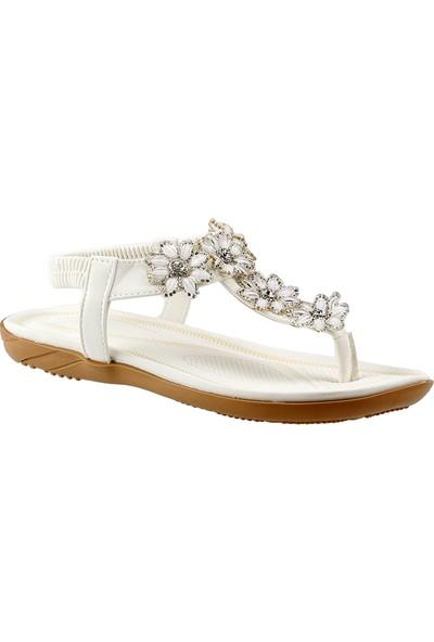 Guja 18Y210-20 Beyaz Günlük Rahat Taban Bayan Sandalet Terlik