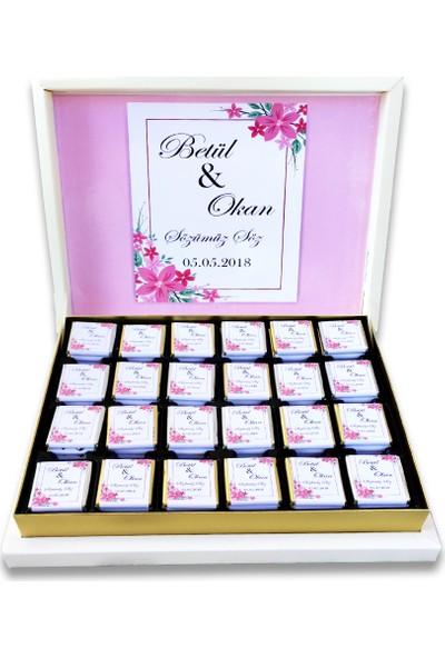Gondol Çikolata Çiçekli Nişan Nikah Çikolatası 100 Adet Madlen