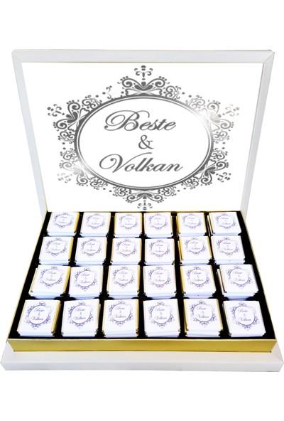 Gondol Çikolata Avangard Gümüş Nişan Nikah Çikolatası 100 Adet Madlen