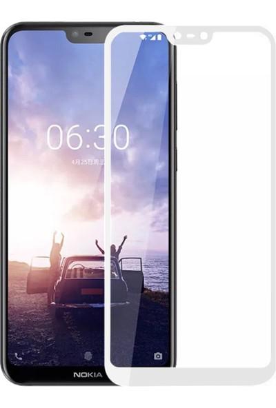 Microsonic Nokia X6 Tam Kaplayan Temperli Cam Ekran Koruyucu Film Beyaz