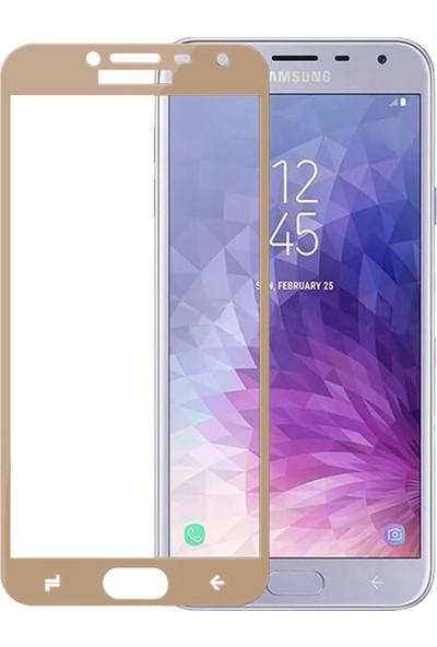Microsonic Samsung Galaxy J4 Tam Kaplayan Temperli Cam Ekran Koruyucu Film Gold