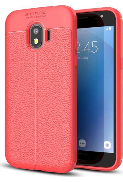 Microsonic Samsung Galaxy J4 Kılıf Deri Dokulu Silikon Kırmızı