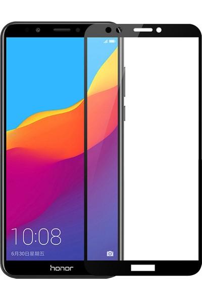 Microsonic Huawei Y7 2018 Tam Kaplayan Temperli Cam Ekran Koruyucu Film Siyah