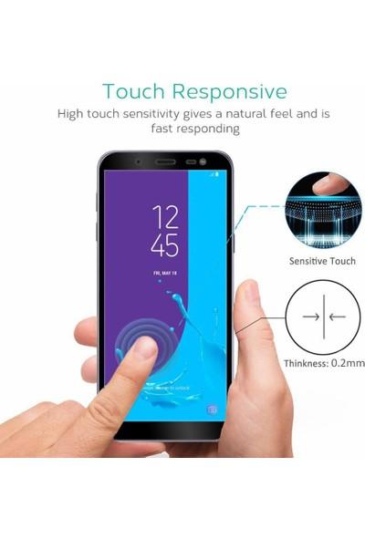 Microsonic Samsung Galaxy J6 Tam Kaplayan Temperli Cam Ekran Koruyucu Film Siyah