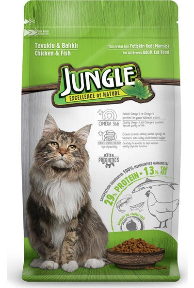 Jungle 15 kg Tavuklu - Balıklı Yetişkin Kedi Maması