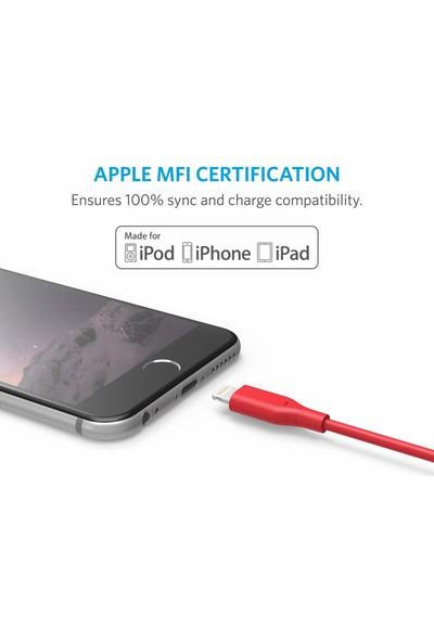 Anker PowerLine Lightning 0.9 Metre Apple Lisanslı iPhone iPad Kablo - Kırmızı- A8111H91 - OFP
