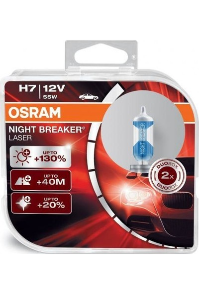 Osram H7 Night Breaker Laser +%130 12V 55W 2'Li Ampül Set