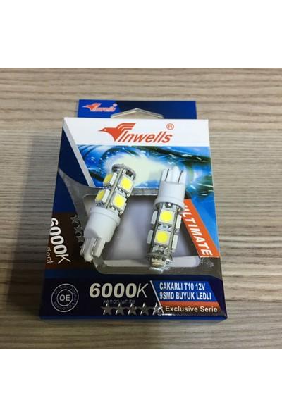 İnwells T10 Büyük Dipsiz Beyaz Çakarlı Led Ampül 6000K 12V 5W 9 Led Smd