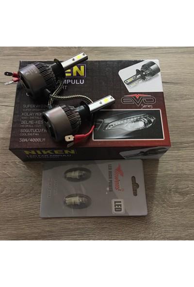 Niken Evo Serisi H3 Led Xenon 8000Lm + T10 Dipsiz Led Ampül