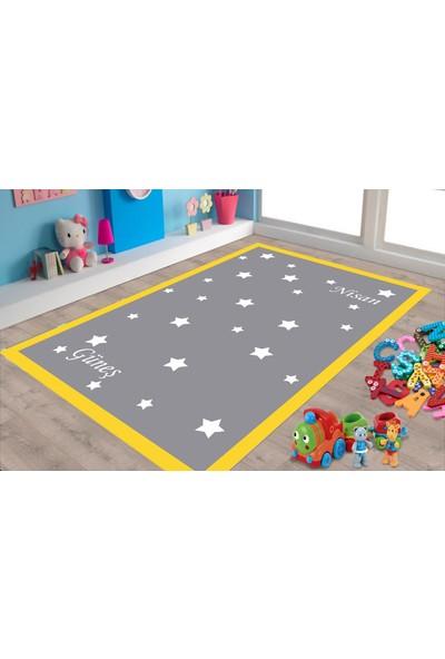 Şeritli Yıldızlı Gri Çocuk Odası Halısı