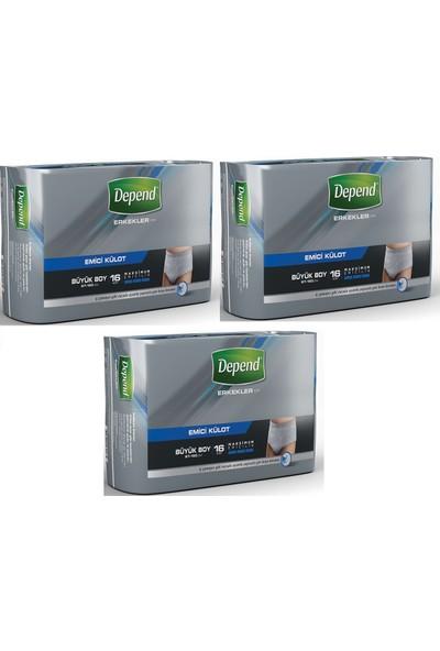 Depend Emici Külot Eko Paket Büyük Erkek 3'lü Set 16 Adet x 3 Paket