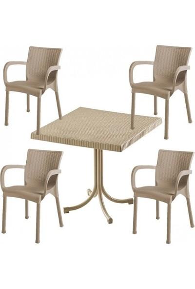 Comfort 90X150 Camlı Masa 6 Sandalye 6 Minder 1 Sehpa Rattan Takım