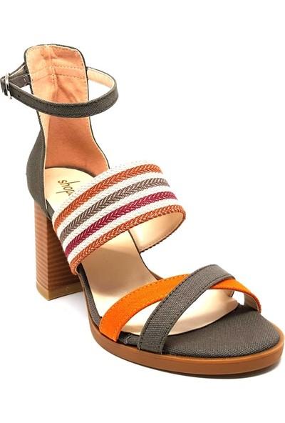 Shop And Shoes 214-1023 Kadın Ayakkabı Haki Keten