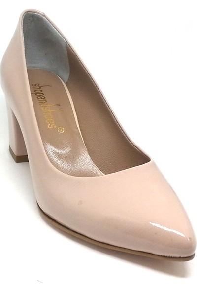 Shop And Shoes 001-3711255 Kadın Ayakkabı Pudra Rugan