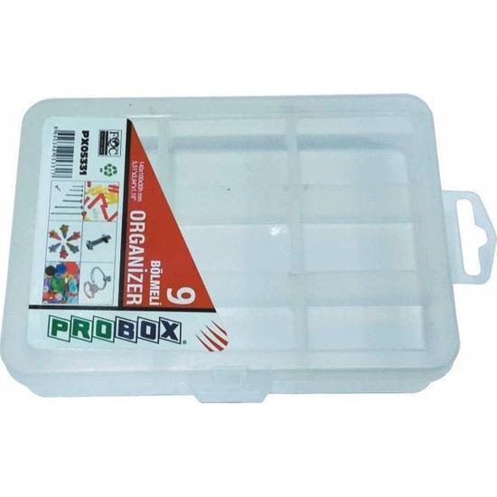 Probox 05331 Plastik Organizer Kutu (9 Bölmeli)