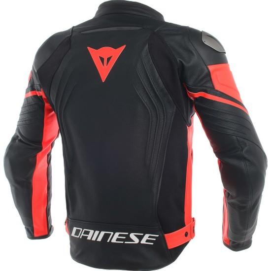 Dainese Racing 3 Deri Mont Black Black Fluo Red