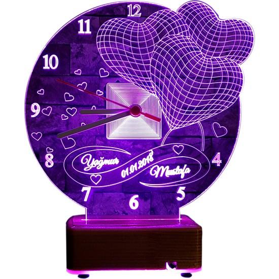 Vipyol Kişiye Özel İsimli Lamba Sevgili Hediyesi Saatli Gece Lambası Kişiye Özel Hediyeler 16 Renkli Masa Lambası