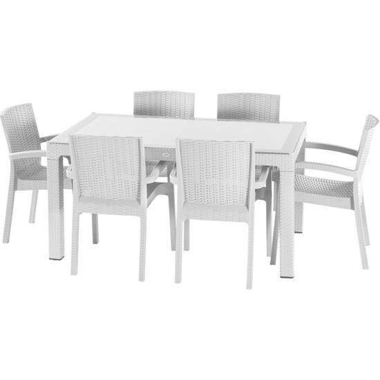 Violet Rattan Trend Lüx Camlı Masa Takımı 6 Sandalyeli Beyaz 90 x 150 cm