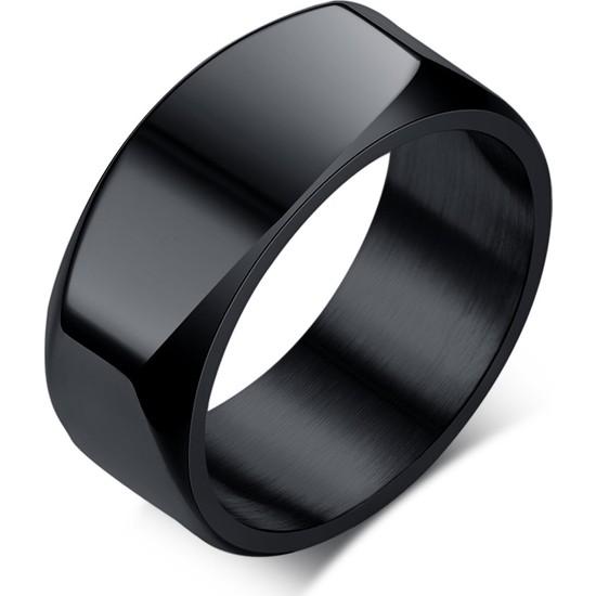 Chavin Parlak Siyah Köşeli Erkek Çelik Yüzük Ds97