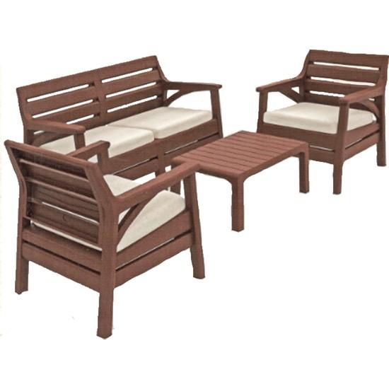 Holiday HK-800 Miami Set Bahçe Mobilyası - Balkon Seti - Kahve