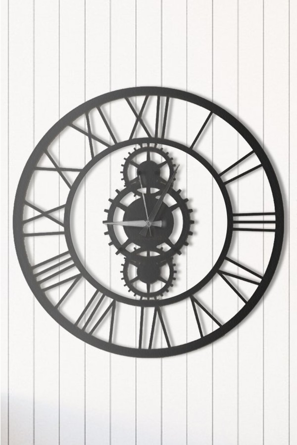 Angemiel Wheel Black Metal Wall Clock Decoration Home And Office