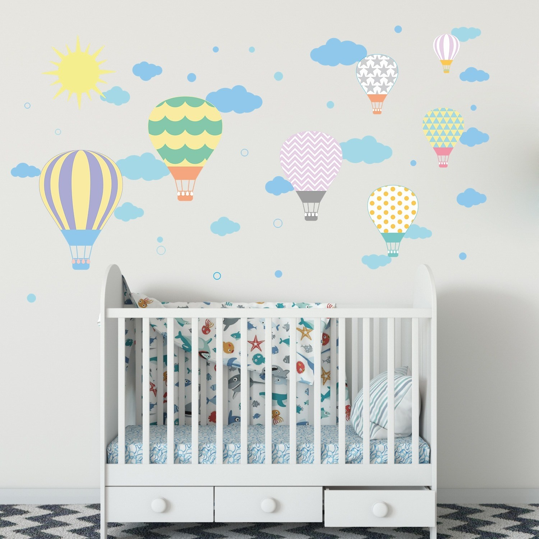 Dekor Loft özgür Uçan Balonlar çocuk Odası Duvar Sticker Cs 625 Pastel
